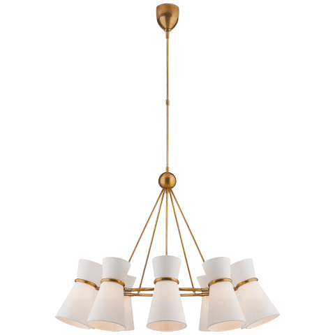 Clarkson Chandelier in Hand-Rubbed Antique Brass with Linen Shades