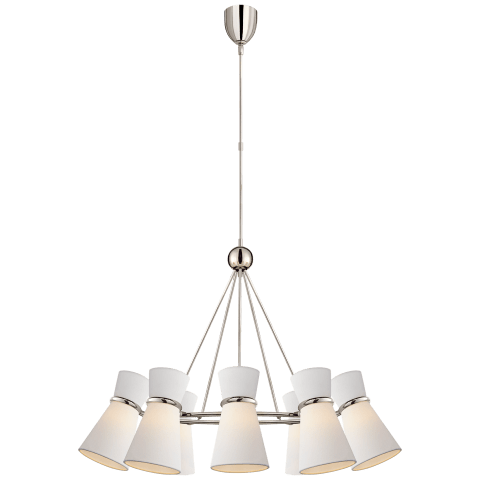 Clarkson Chandelier in Polished Nickel with Linen Shades