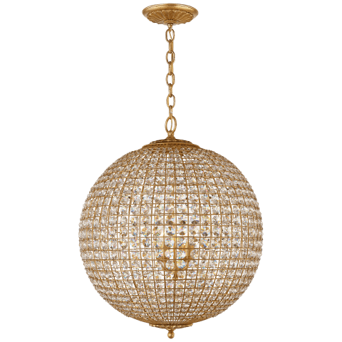 Renwick Large Sphere Chandelier in Burnished Silver Leaf with Crystal