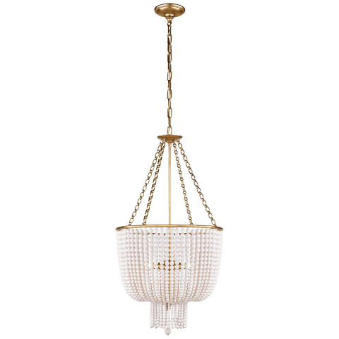 Jacqueline Chandelier in Hand-Rubbed Antique Brass with White Acrylic