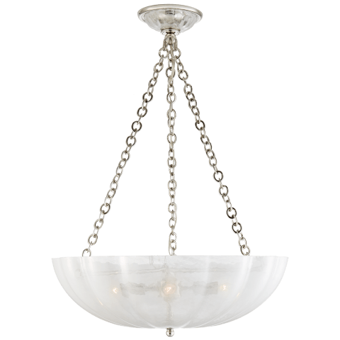 Rosehill Large Chandelier in Polished Nickel with Strie Glass