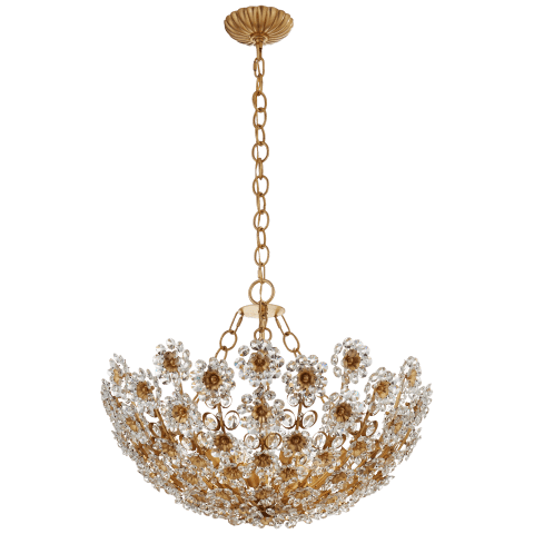 Claret Short Chandelier in Gild with Crystal