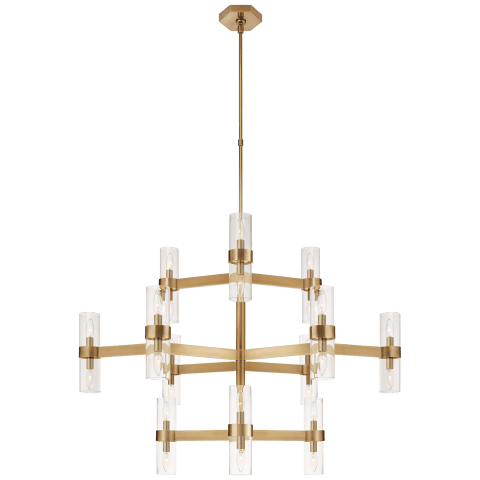 Margita Medium Chandelier in Hand-Rubbed Antique Brass with Clear Glass