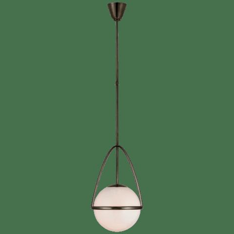 Lisette Medium Globe Pendant in Bronze with White Glass