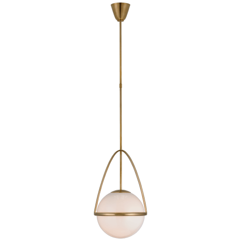 Lisette Medium Globe Pendant in Hand-Rubbed Antique Brass with White Glass