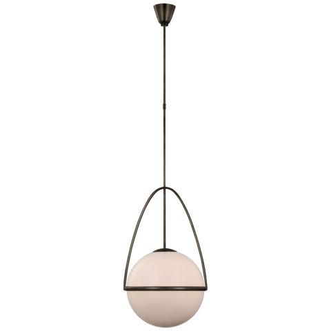 Lisette Large Globe Pendant in Bronze with White Glass