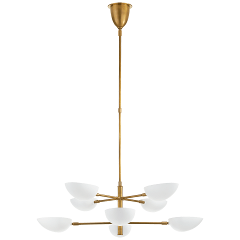 Graphic Large Two-Tier Chandelier in Hand-Rubbed Antique Brass with White Shades