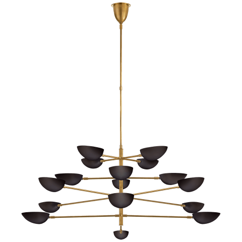 Graphic Grande Four-Tier Chandelier in Hand-Rubbed Antique Brass with Black Shades