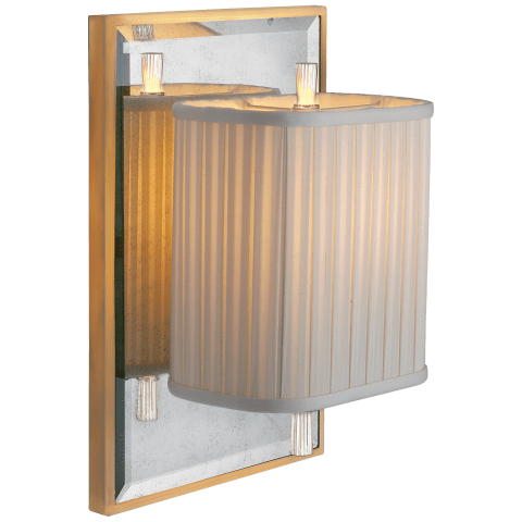 Sunset Plaza Sconce in Ivory and Soft Silver with Antique Mirror and Ivory Silk Pleated Shade