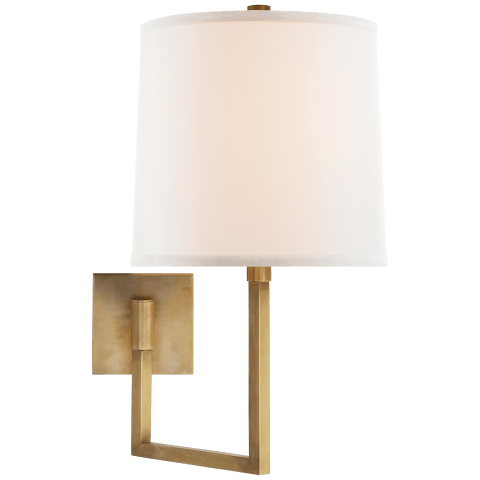 Aspect Large Articulating Sconce in Soft Brass with Ivory Linen Shade