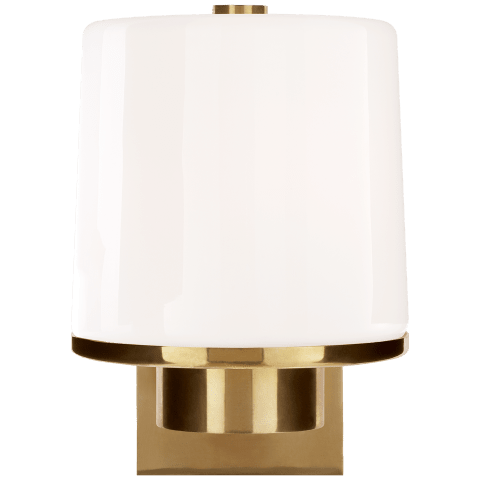 Sumo Sconce in Soft Brass with White Glass