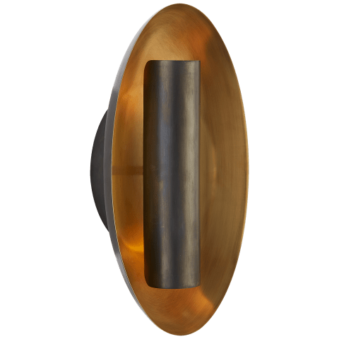 Aura Medium Oval Sconce in Bronze with Soft Brass Interior