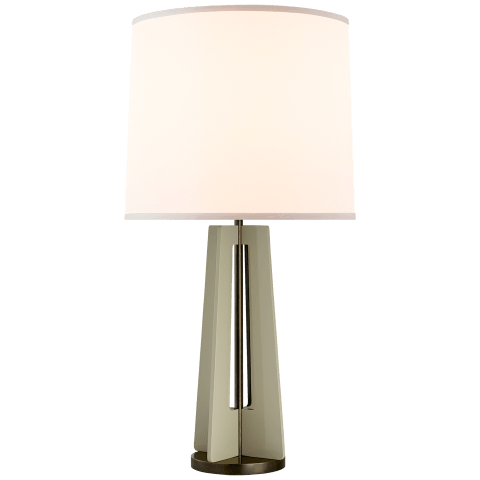Silhouette Straight Table Lamp in Gray and Bronze with Silk Shade