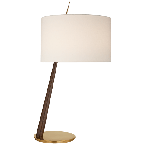 Stylus Large Angled Table Lamp in Dark Walnut and Soft Brass with Linen Shade