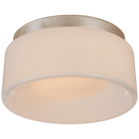 Halo Petite Flush Mount in Burnished Silver Leaf with White Glass