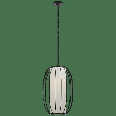 Carousel Medium Oblong Lantern in Bronze with Linen Shade