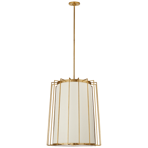 Carousel Medium Tapered Lantern in Soft Brass with Linen Shade