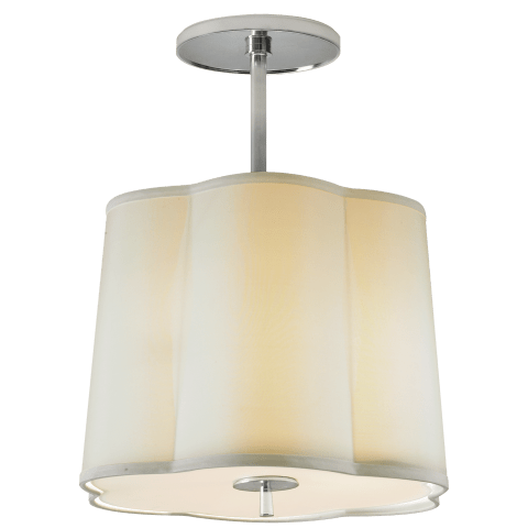 Simple Scallop Hanging Shade in Soft Silver with Silk Shade