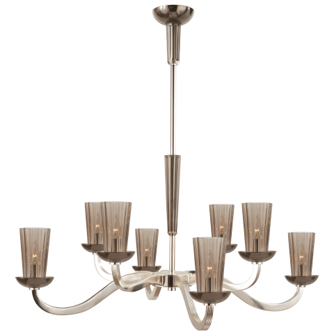 Large All Aglow Chandelier in Soft Silver with Amethyst Glass