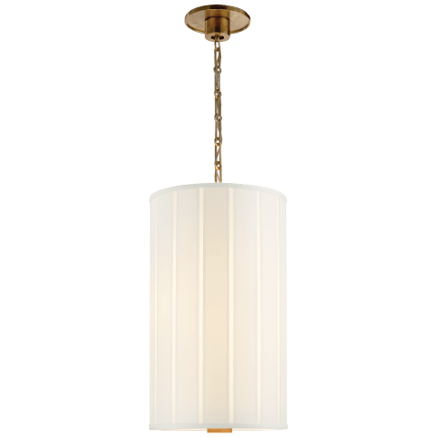 Perfect Pleat Tall Hanging Shade in Soft Brass with Silk Pleated Shade