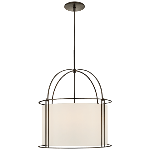 Capitol Wide Lantern in Bronze with Silk Shade