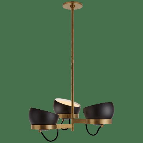 Lightwell Medium Triple Chandelier in Soft Brass with Black Shades