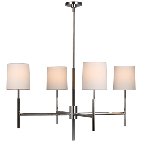 Clarion Large Chandelier in Polished Nickel with Linen Shades