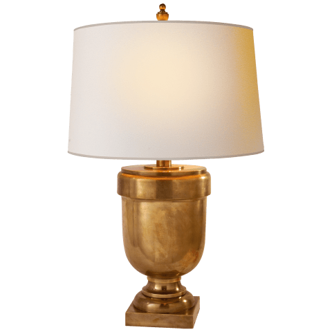 Chunky Urn Medium Table Lamp in Antique-Burnished Brass with Natural Paper Shade