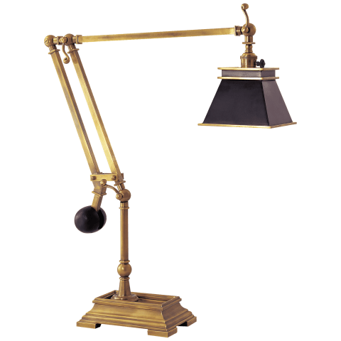 Engraver's Desk Lamp in Antique-Burnished Brass with Black Shade