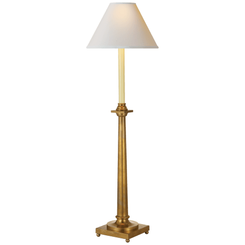Swedish Column Buffet Lamp in Antique-Burnished Brass with Natural Paper Shade