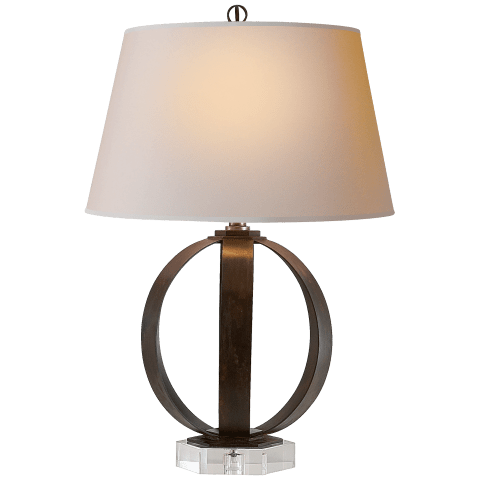 Metal Banded Table Lamp in Aged Iron with Natural Paper Shade