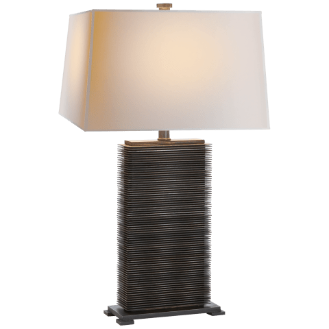Convector Rectangular Table Lamp in Antique Zinc with Natural Paper Shade