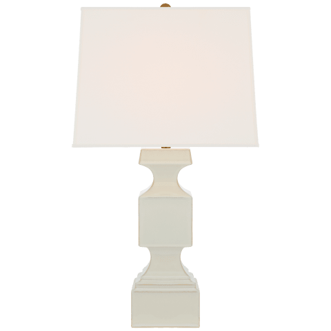 Finley Large Balustrade Table Lamp in Ivory with Linen Shade