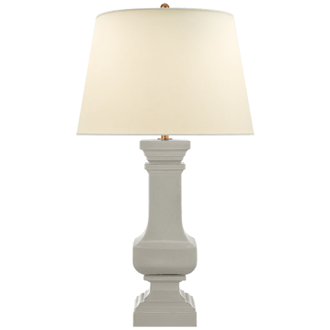 Square Balustrade Grande Table Lamp in Shellish Gray with Natural Percale Shade