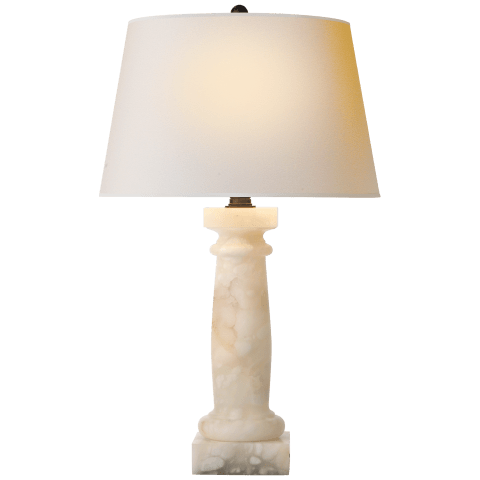 Chubby Column Table Lamp in Alabaster with Natural Paper Shade