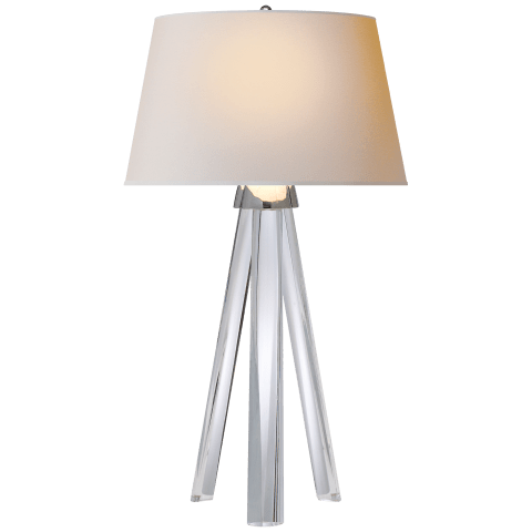 Veneto Tripod Lamp in Crystal with Natural Paper Shade