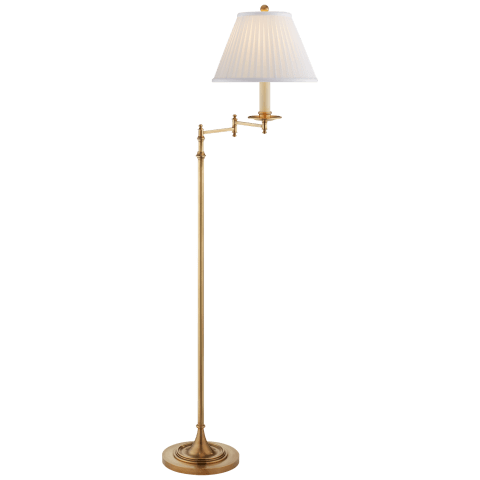 Dorchester Swing Arm Floor Lamp in Antique-Burnished Brass with Silk Shade