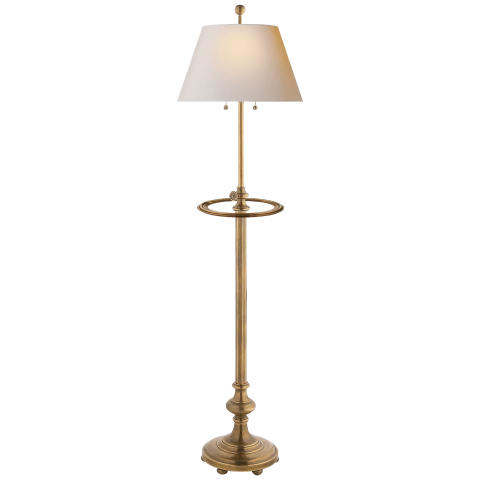Overseas Adjustable Club Tray Floor Lamp in Antique-Burnished Brass with Natural Paper Shade