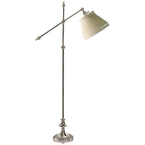 Pimlico Adjustable Floor Lamp in Polished Nickel with Linen Collar Shade