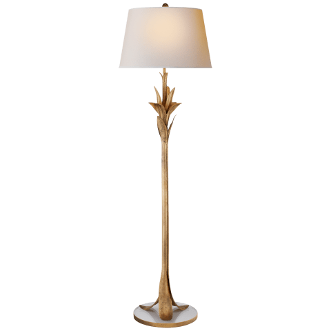 Palm Leaf Floor Lamp in Gilded Iron with Natural Paper Shade
