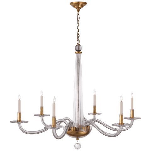 Robinson Large Chandelier in Antique-Burnished Brass and Clear Glass