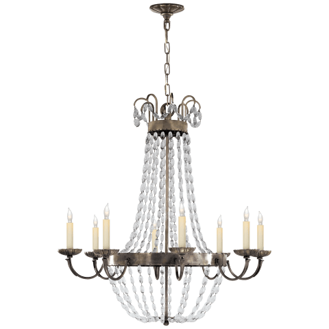 Paris Flea Market Large Chandelier in Sheffield Silver with Seeded Glass