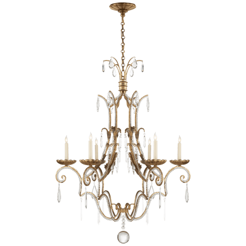 Middleton 6-Light Chandelier in Gilded Iron with Crystal