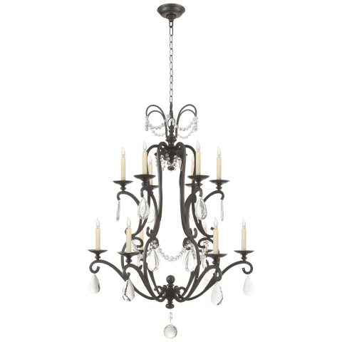 Orvieto Large Chandelier in Aged Iron with Seeded Glass