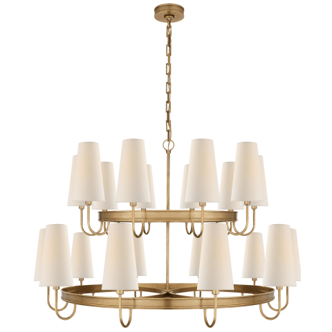 Venini Large Chandelier in Antique-Burnished Brass with Linen Shades