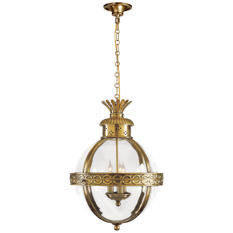 Crown Top Banded Globe Lantern in Bronze with Antique-Burnished Brass with Clear Glass
