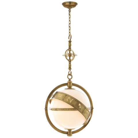 Zodiac Lantern in Antique-Burnished Brass with White Glass