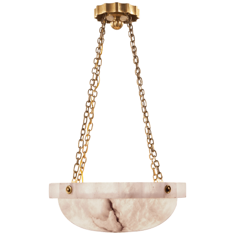 Fluted Band Medium Chandelier in Alabaster