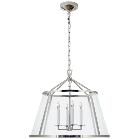 "Darlana 24"" Pendant in Polished Nickel with Clear Glass"