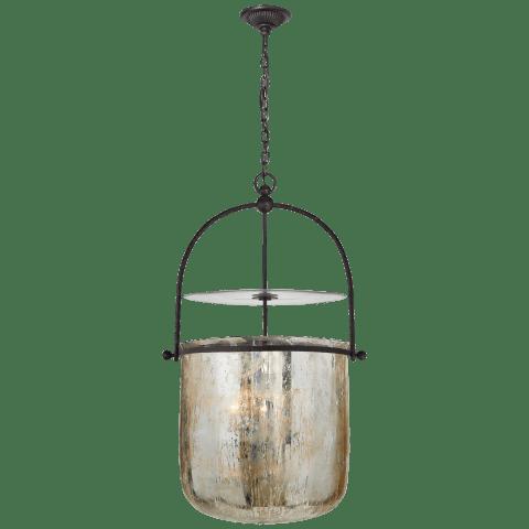 Lorford Smoke Bell Lantern in Aged Iron with Mercury Glass